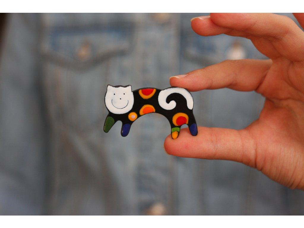 smaltovaná kočka brož