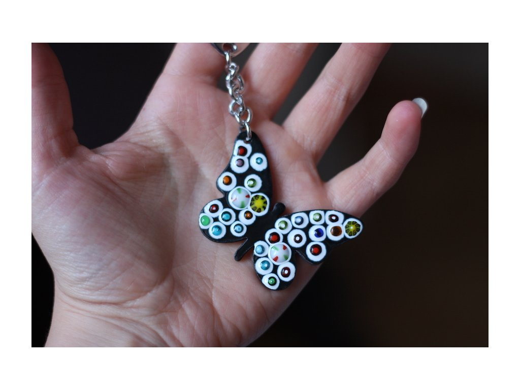 black and white butterfly handmade keychain