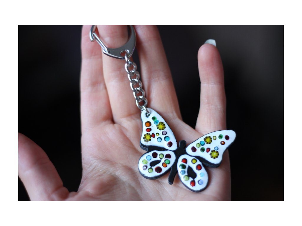 white butterfly keychain