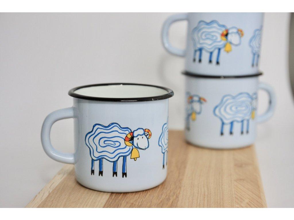 blue enamel mug with sheep