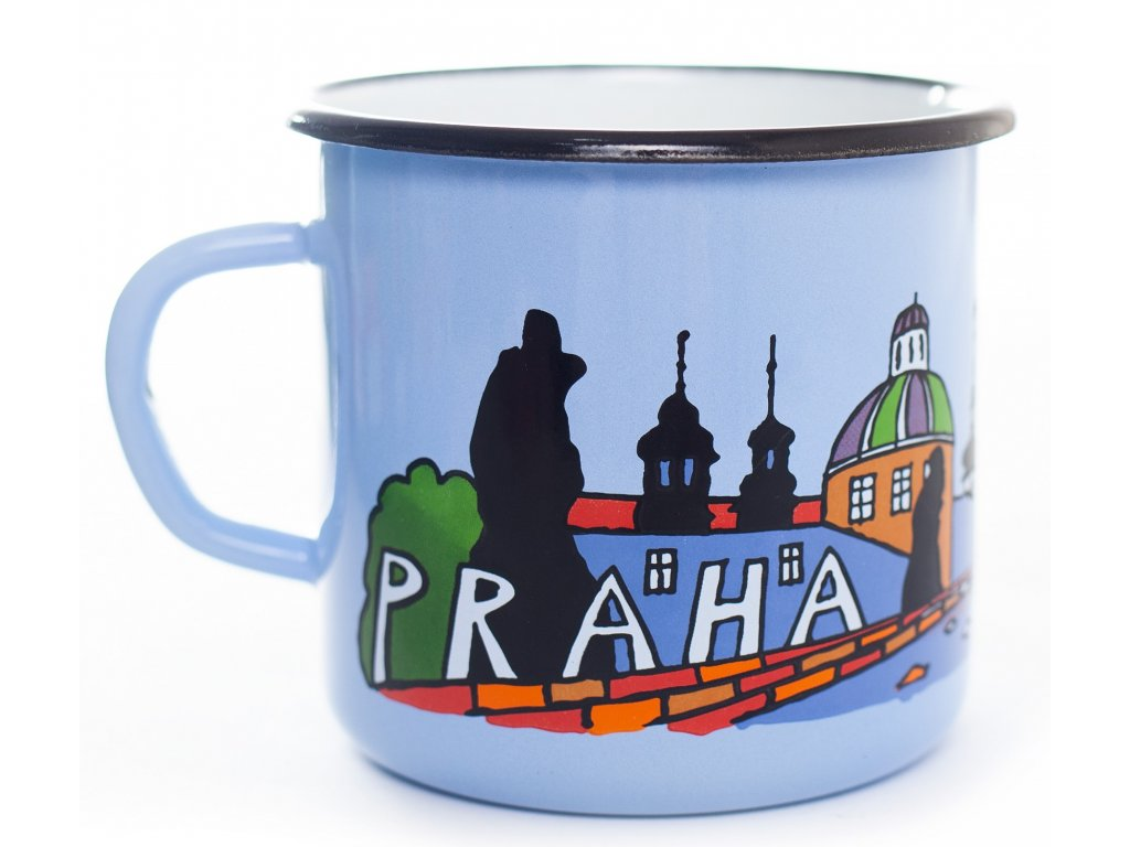 Smaltovany hrnek Praha svetle modry BC