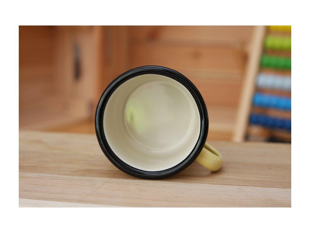 yellow enamel mug