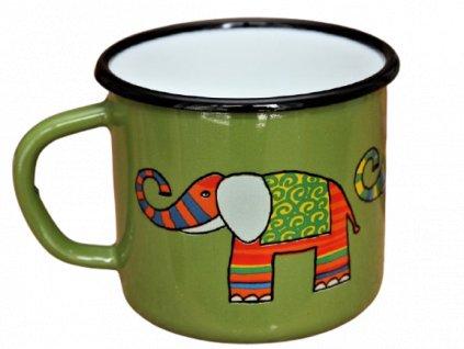 Smaltovany hrnek plechacek smaltum cz Zeleny slon po removebg preview