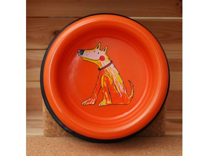 smalt psi miska stredni oranžová