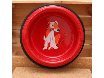 Smaltovaná psi miska cervena velka