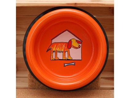 smaltovaná psi miska oranzova velka