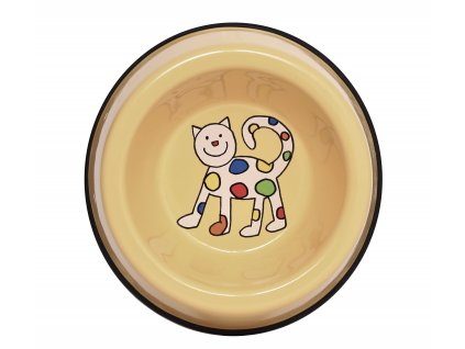 Miska pro kocky smaltovana zluta kote