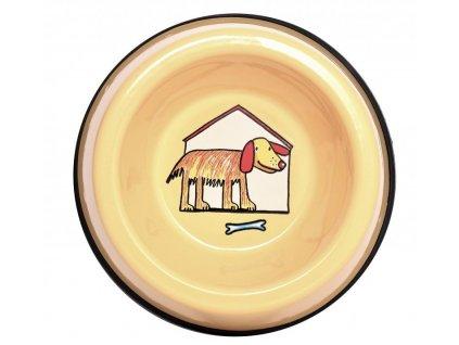 Smaltovaná miska pro psy žlutá malá