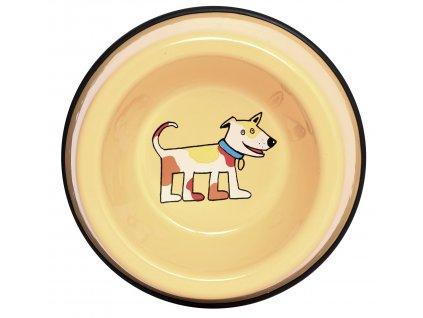Miska pro kocky smaltovana zluta pes 3