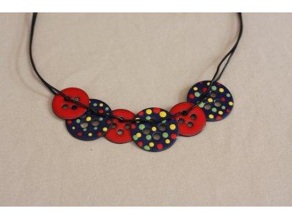 enamel necklace on neck