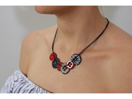 enamel necklace on neck