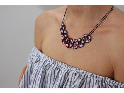 necklace enamel red black white