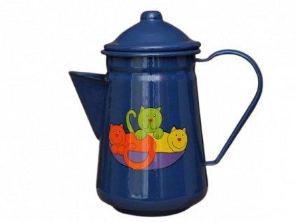 Smaltovana konvice na kavu motiv kocky modra removebg preview
