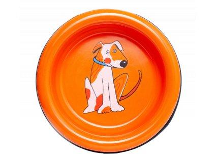Smaltovana miska pes oranzova 1 removebg preview