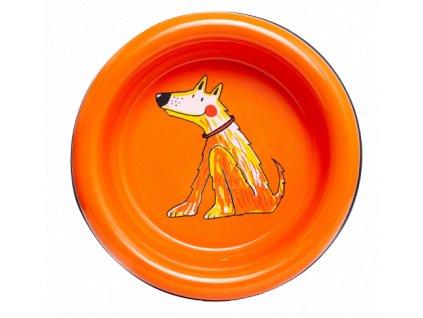 Smaltovana miska pes oranzova 4 removebg preview