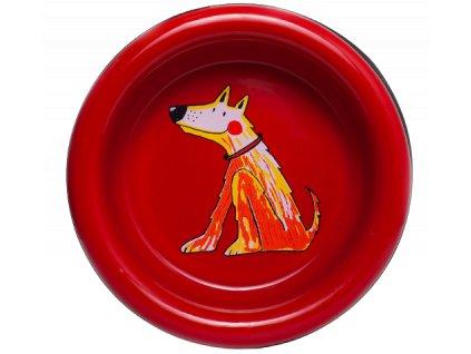 miska pro psy smaltovana cervena velka 1 removebg preview