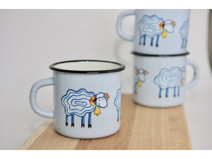 blue enamel mug with sheep