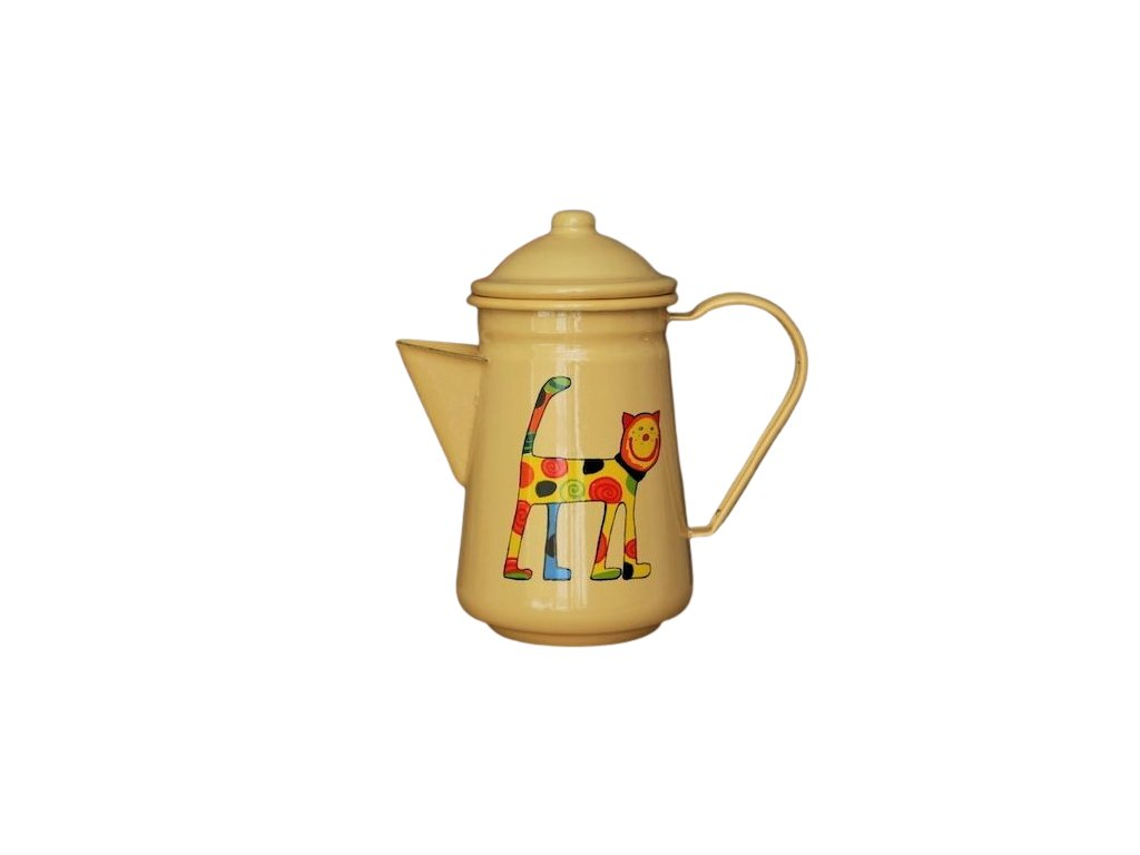 1077 coffee pot with a cat
