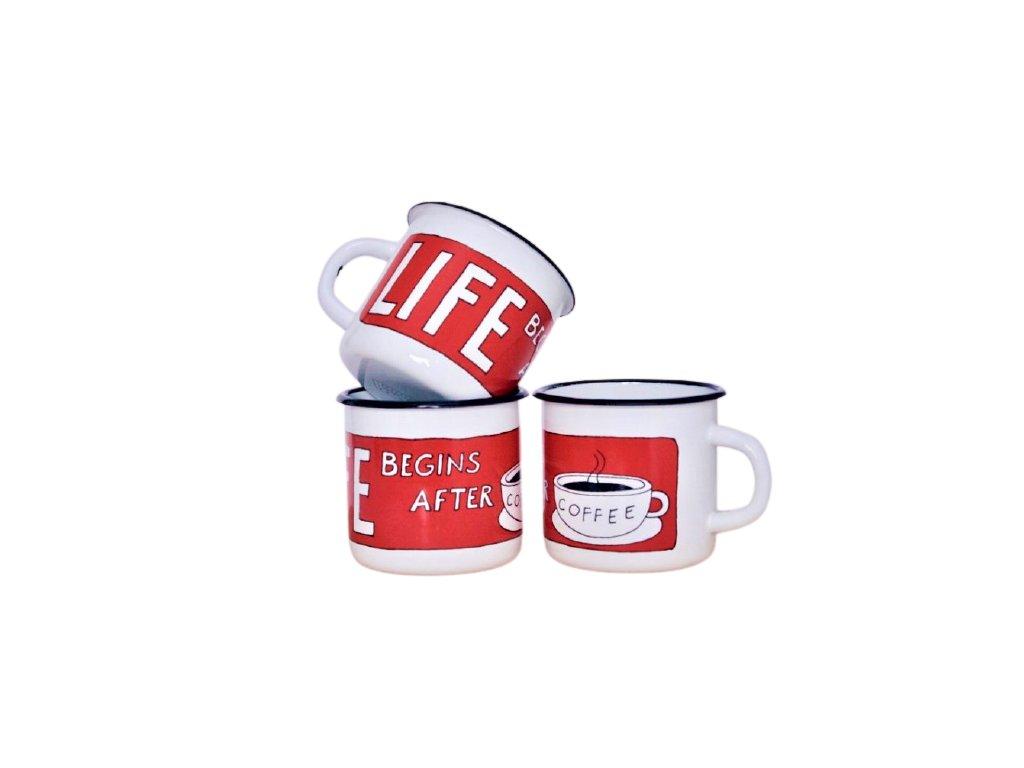 110 enamel mug sign life begins after coffee
