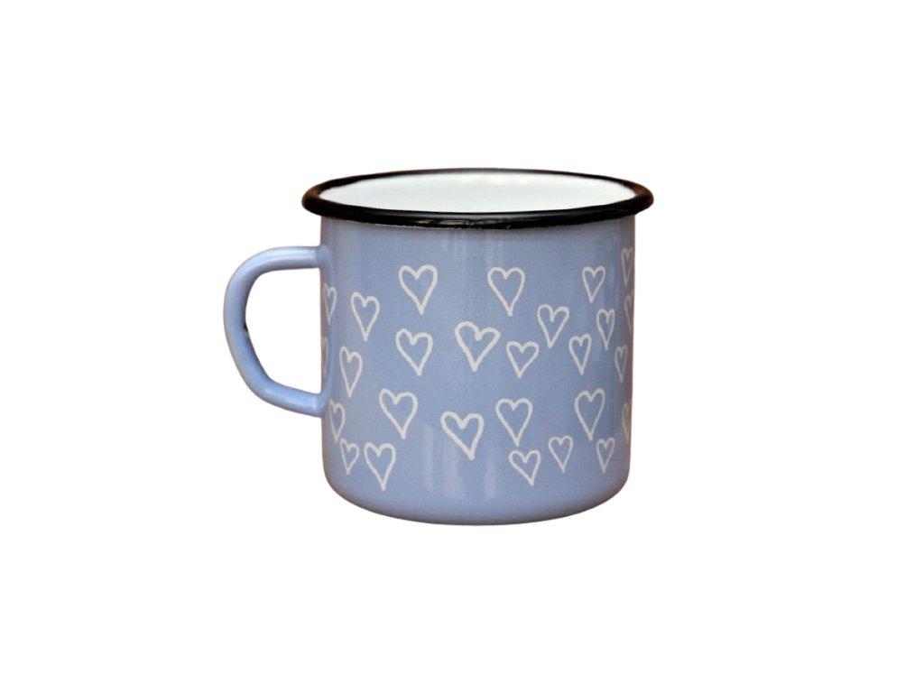 2702 enamel mug light blue motive hearts