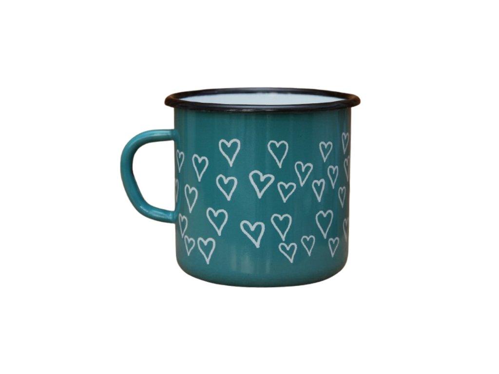2717 enamel mug ocean blue motive hearts