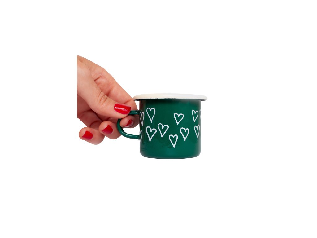 Espresso hrnek smalt zeleny srdce removebg preview