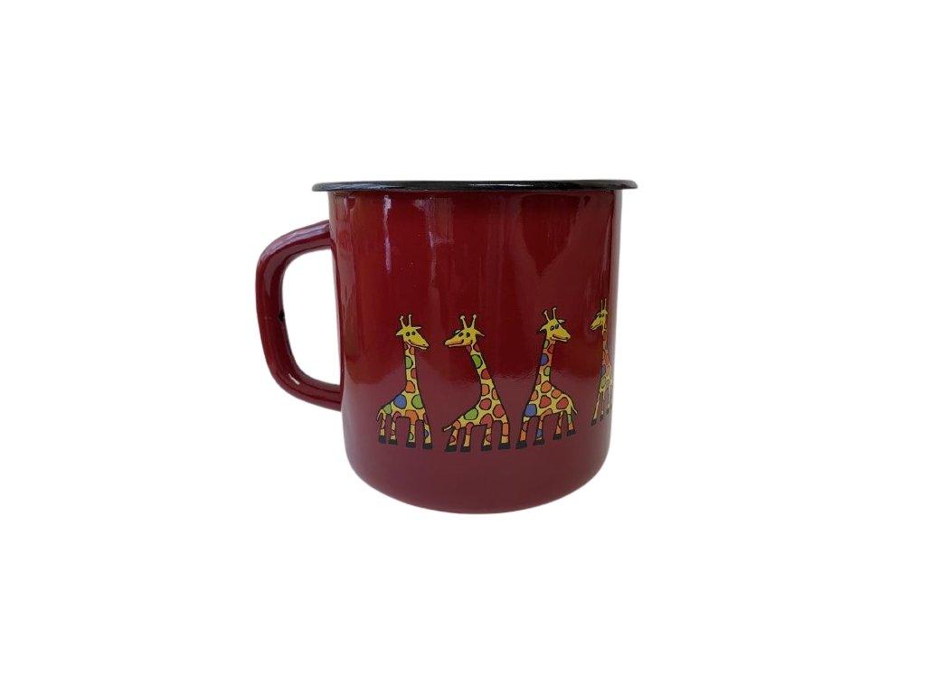 1278 enamel big mug burgundy motive giraffe