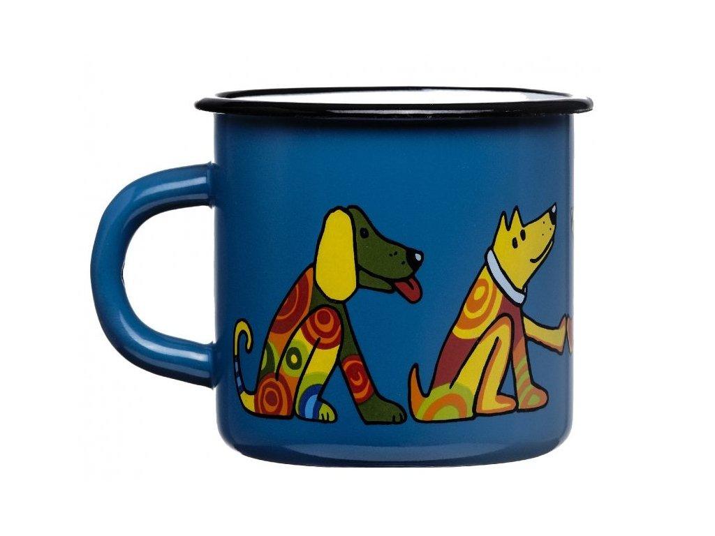 128 10 enamel mug dark blue motive dog