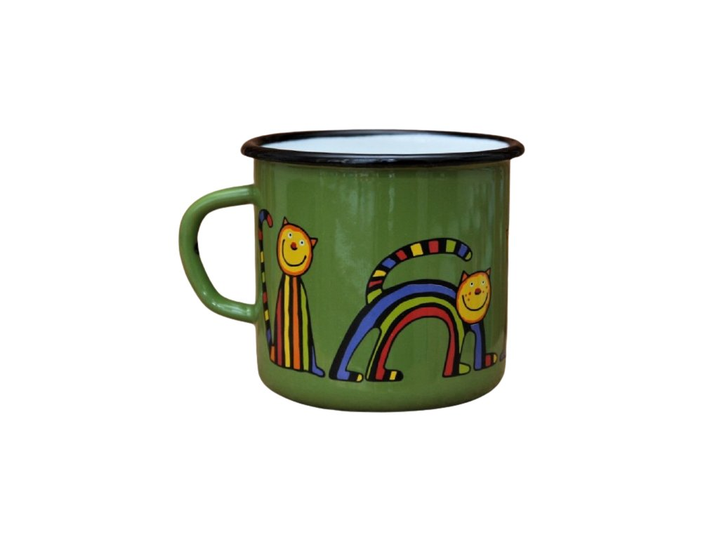 1293 enamel mug dark green motive cat
