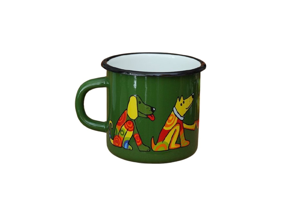 1305 enamel mug dark green motive dog
