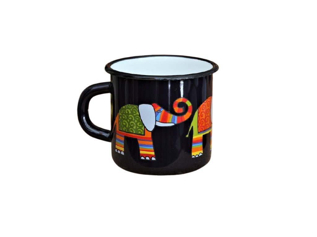 1326 enamel mug dark blue motive elephant