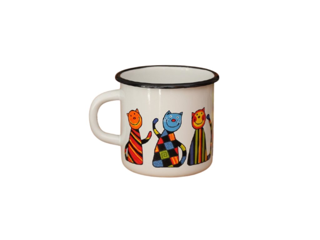 1335 enamel mug white motiv cat