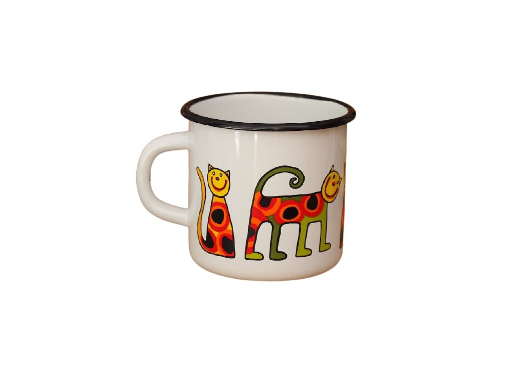 1338 enamel mug white motiv cat