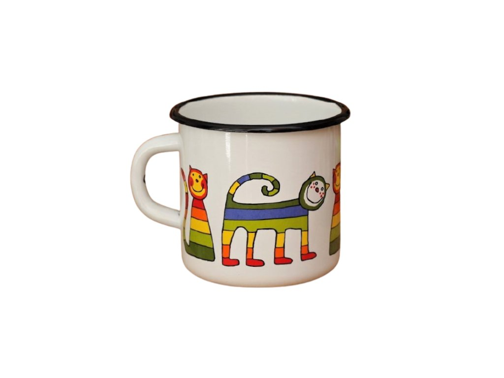 1344 enamel mug white motive cat