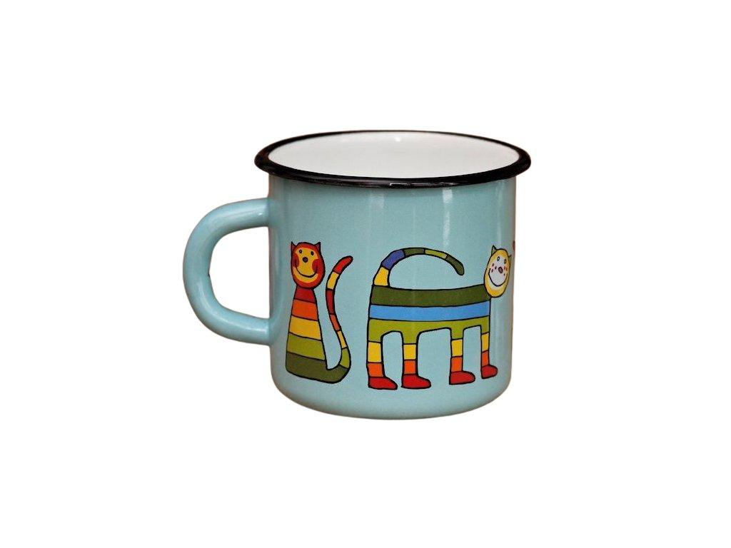1389 enamel mug turquoise motive cat