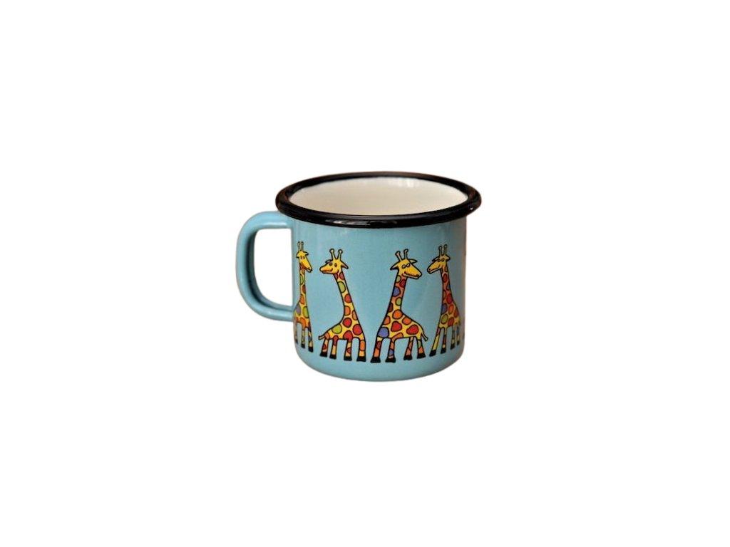 1392 enamel mug turquoise motive giraffe