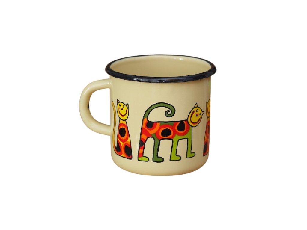 1404 1 enamel mug cream motiv cat