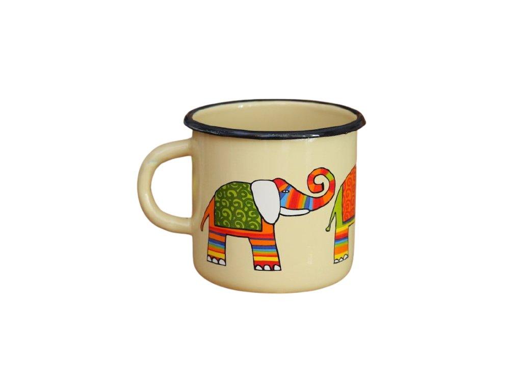 1416 enamel mug cream motive elephant
