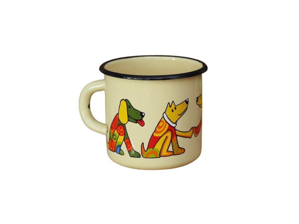 1419 enamel mug cream motive dog