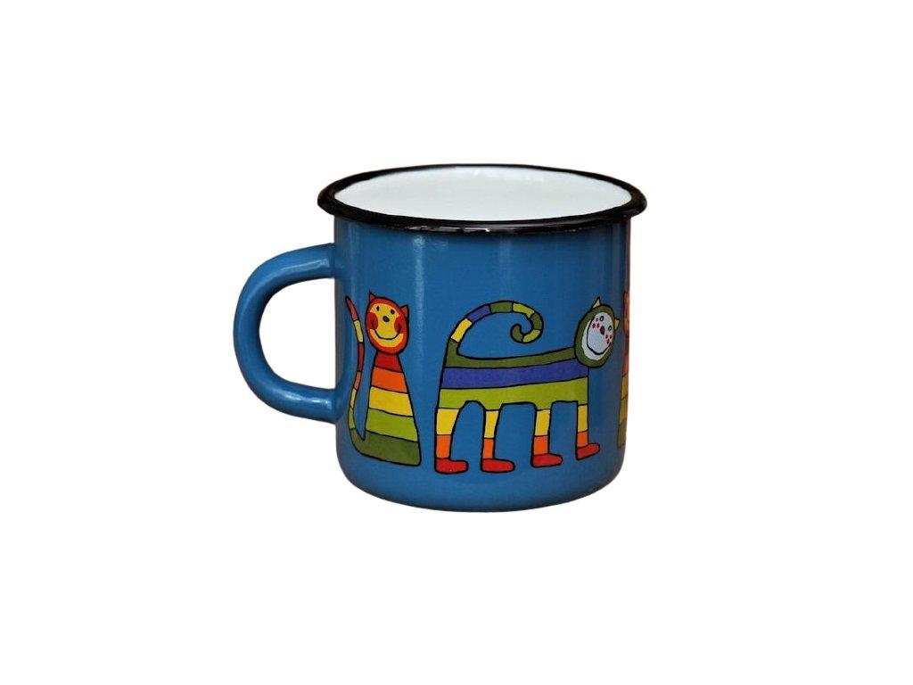 1428 enamel mug navy blue motive cat