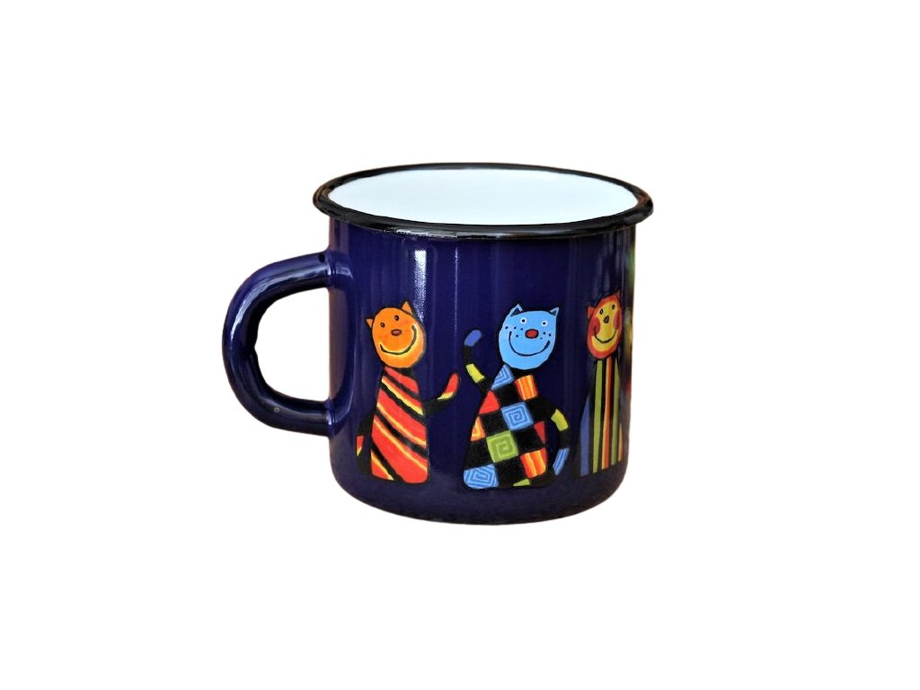1437 enamel mug dark blue motive cat
