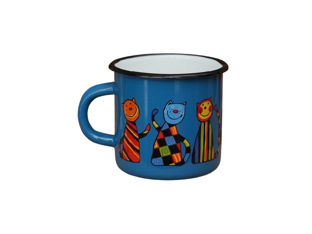 143 enamel mug navy blue motive cat