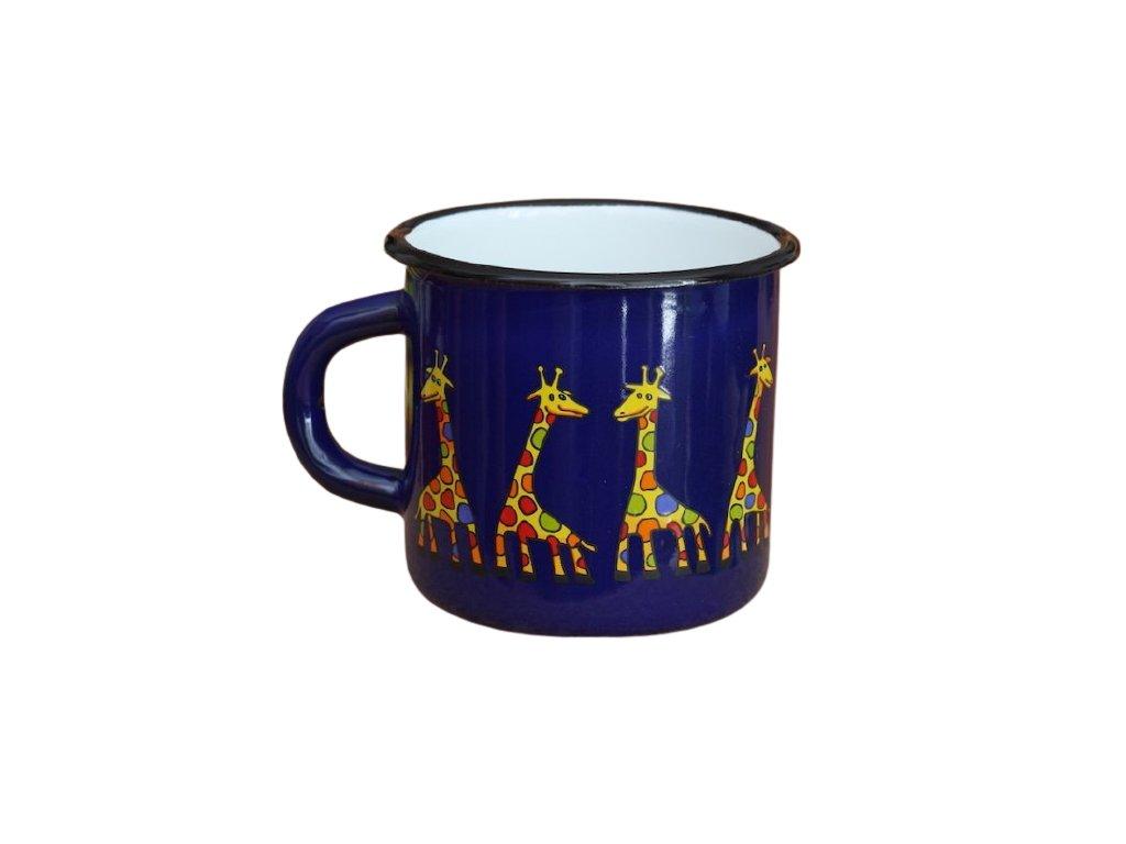 1446 enamel mug dark blue motive giraffe