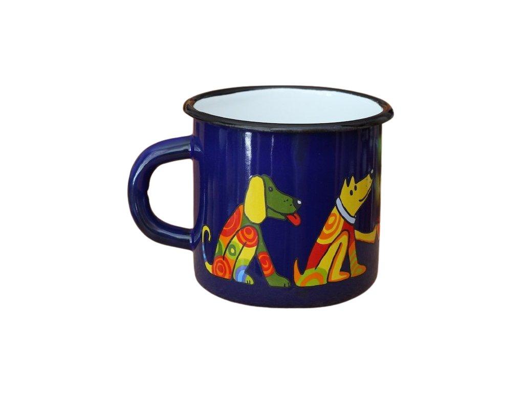 1452 enamel mug dark blue motive dog