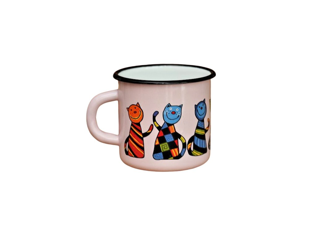 1458 enamel mug pink motive cat