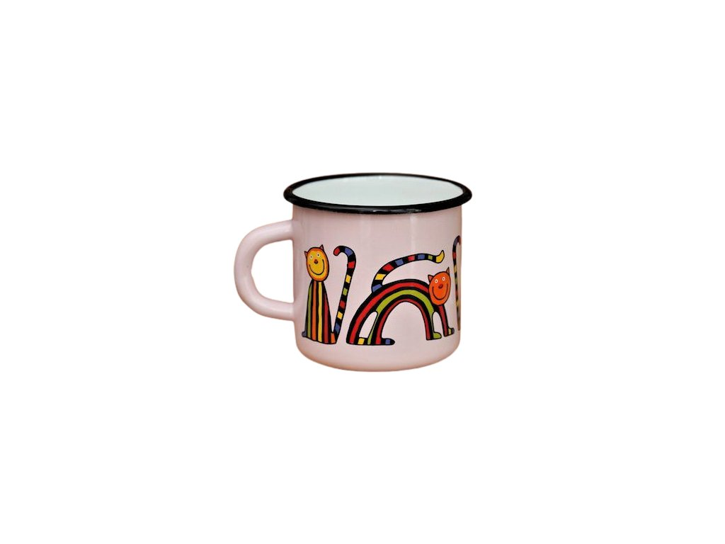1464 enamel mug pink motive cat