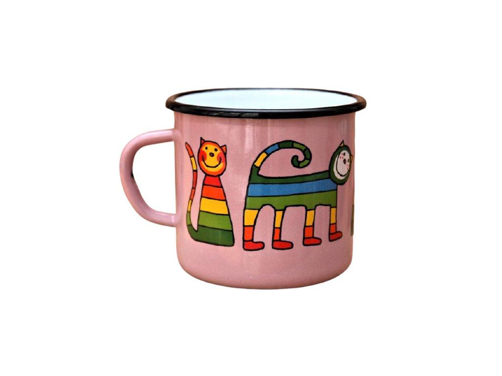 1467 enamel mug pink motive cat