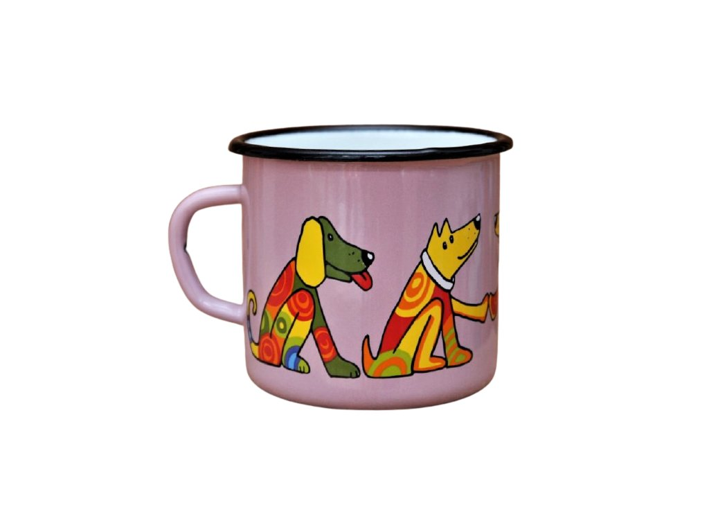 1473 enamel mug pink motive dog