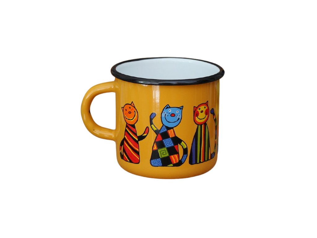 1476 enamel mug yellow motive cat