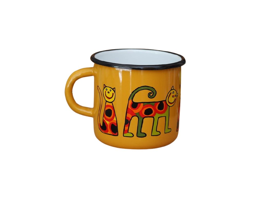 1479 enamel mug yellow motive cat